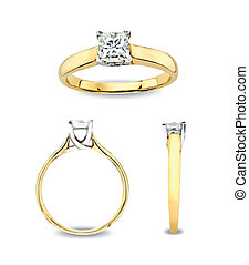 Ring With Diamond in different views. Vector