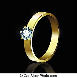 Ring with diamond on black background