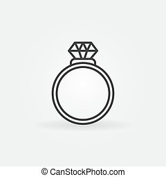Ring with diamond outline icon. Vector engagement ring sign