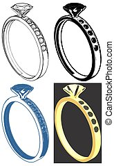 Ring With Diamond Vector 09.eps