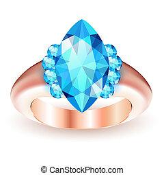 Ring with gemstone isolated on white background