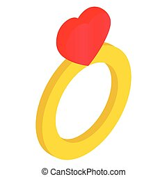 Ring with heart isometric 3d icon