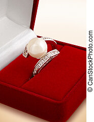 Ring with pearl in gift box