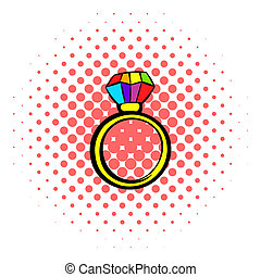 Ring with rainbow diamond icon, comics style