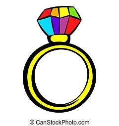 Ring with rainbow diamond icon, icon cartoon
