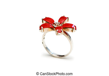 Ring with red stones - shallow depth of field