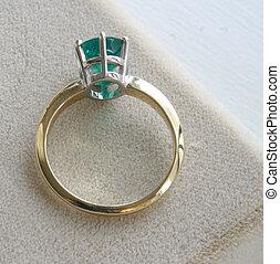 ring, zielony, szmaragd