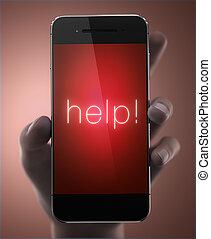 ringa, begrepp, hjälp, smart