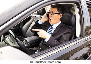 ringa, bil, ilsken, cell, talande, affärsman
