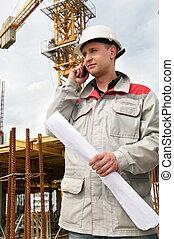 ringa, byggmästare, konstruktion sajt