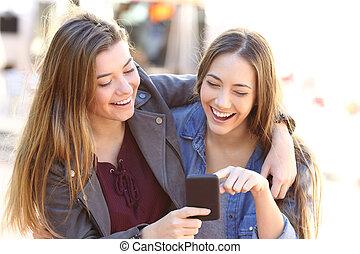 ringa, delning, vänner, smart, lycklig