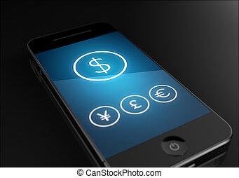 ringa, -, dollar, ikon, underteckna, affärsidé