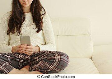 ringa, flicka, texting, smart
