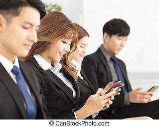 ringa, folk, smart, affär, ung, användande