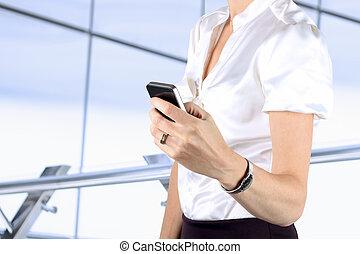 ringa, holdingen, smart, affärskvinna, mobil, användande