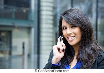 ringa, indisk, affärskvinna