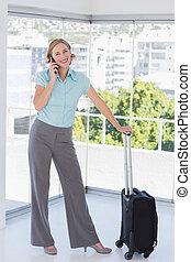 ringa, le, resväska, affärskvinna