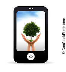 ringa, levande, träd, mobil