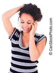 ringa, lycklig woman