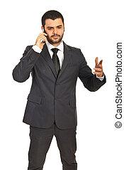 ringa, man, ha, affär, konversation