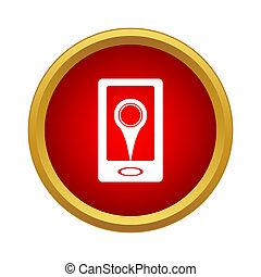 ringa, med, lokalisering, stift, ikon, enkel, stil
