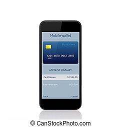 ringa, med, mobil, plånbok, onlain, inköp, på, den, avskärma