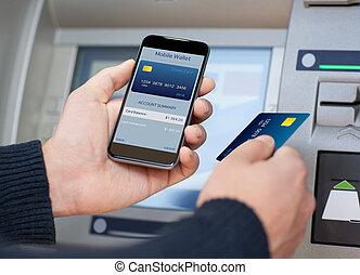 ringa, mobil, atm, plånbok, holdingen, man