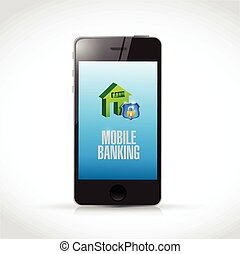 ringa, mobil, bankrörelse, illustration, design