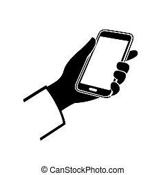 ringa, mobil, hand, bakgrund., vektor, vit, ikon