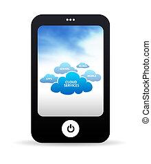 ringa, moln, mobil, tjänsten