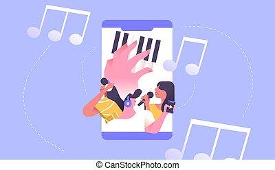ringa, musik, begrepp, folk, app, social, ström