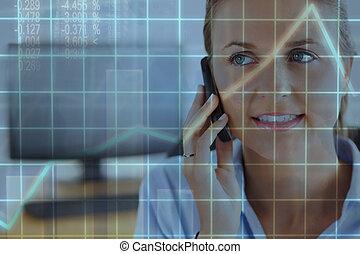 ringa, nära, arbete, uppe, kvinna