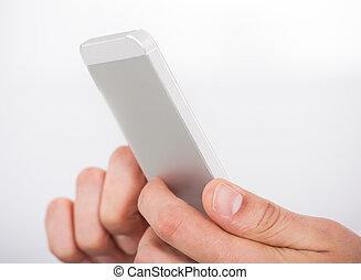 ringa, närbild, smart, användande, räcker