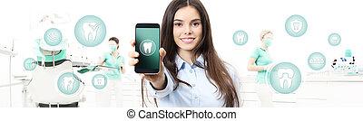 ringa, nät, kvinna, visande, mall, ikonen, dental, klinik, symboler, tandläkare, bakgrund, tänder, stol, baner, le, smart, omsorg