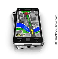 ringa, navigatör, cellformig, gps