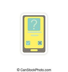 ringa, papper, sms, bakgrund, vit, märke, mobil