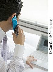 ringa, se, pc, medan, rop, affärsman, tillverkning