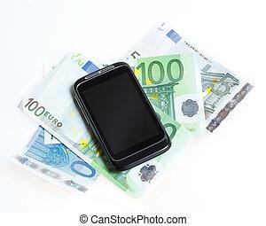 ringa, smart, euro sedlar, nymodig, mobil