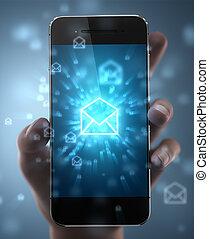 ringa, -, smart, meddelande, begrepp, vana