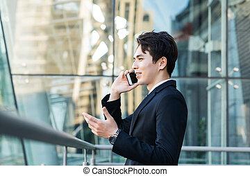 ringa, stad, byggnad, bakgrund, man, affär, talande