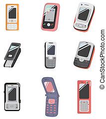 ringa, tecknad film, ikon, mobil