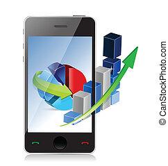 ringa, teknologi, begrepp, modern affär