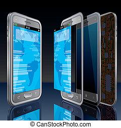 ringa, touchscreen, begrepp, smart
