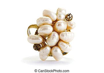 ringa, vit fond, isolerat, smycken