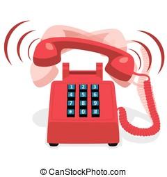 ringande, tangentbord, knapp, ringa, stillastående, röd