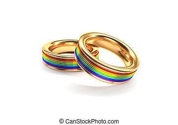 ringe, gleich, geschlecht, symbolizing, hochzeit, wedding