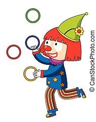 ringe, jonglieren, clown, glücklich