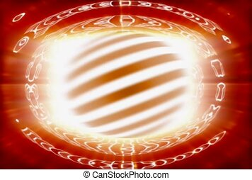 Ringed Globe Spinning in Orange