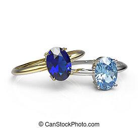 ringen, achtergrond, witte, diamant, Vrijstaand