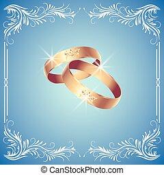 ringen, kaart, trouwfeest